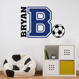 Varsity Initial Name Soccer | Vinyl Wall Lettering | Sports Decal