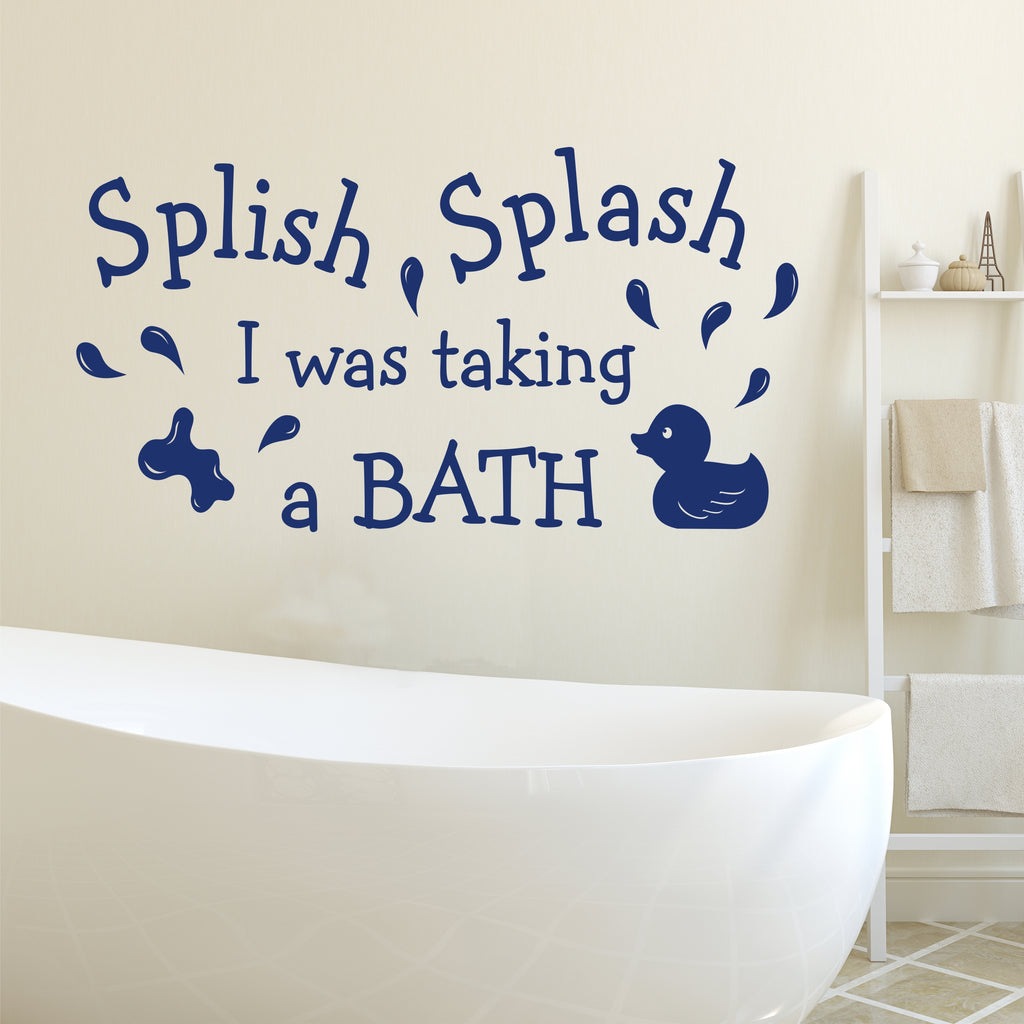 Splish Splash Duck Decal | Bathroom Quote | Vinyl Wall Lettering