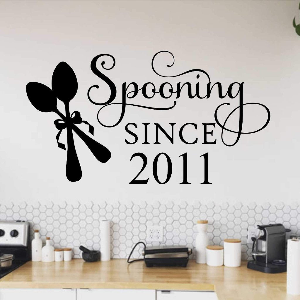 Spooning Since | Romantic Kitchen Decal | Vinyl Wall Lettering
