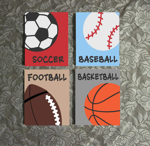 Sports Ball Theme Art | Hand Painted Canvas Set | Nursery Wall Art