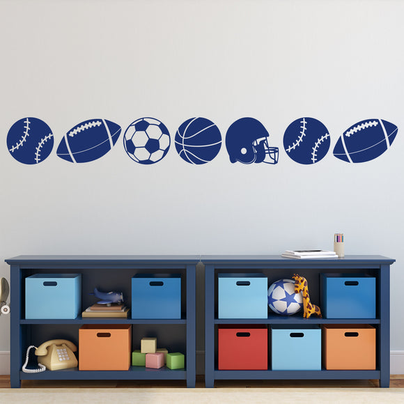 Wall Decal Sport Balls Accent Border