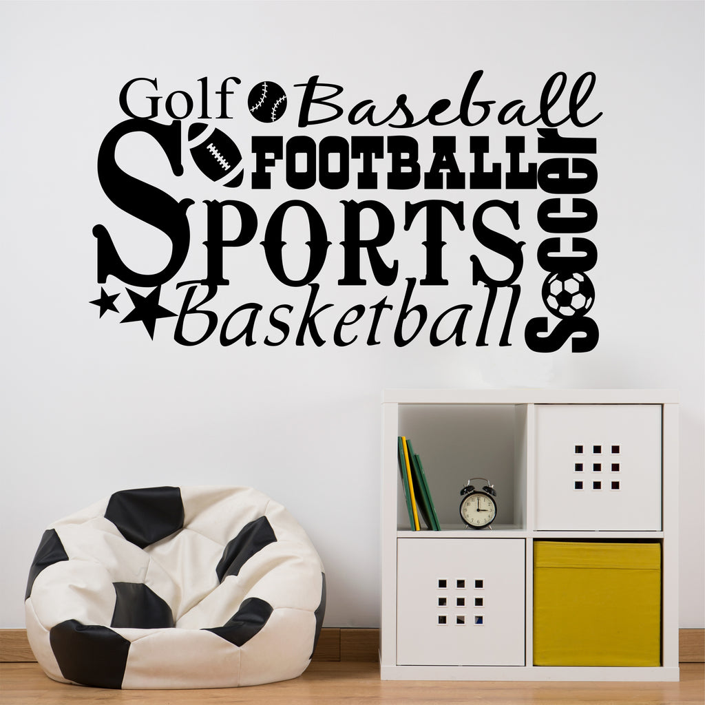 Sports Theme Word Collage | Wall Decals | Vinyl Lettering