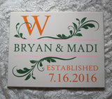 Hand Painted Wedding Canvas Save The Date Monogram Leaf