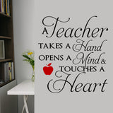 Teacher Touches Heart Decal | Vinyl Lettering | Appreciation Gift