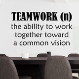 Teamwork Ability Work Together Quote | Vinyl Decals | Wall Lettering