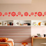 Decorative Vinyl Border | Flowers Hearts Peace | Vinyl Wall Decals