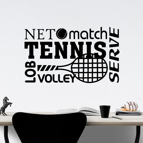 tennis word collage wall decal