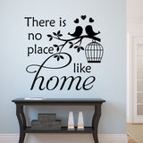 Family Wall Decal No Place Like Home Love Birds in Cage Vinyl Lettering