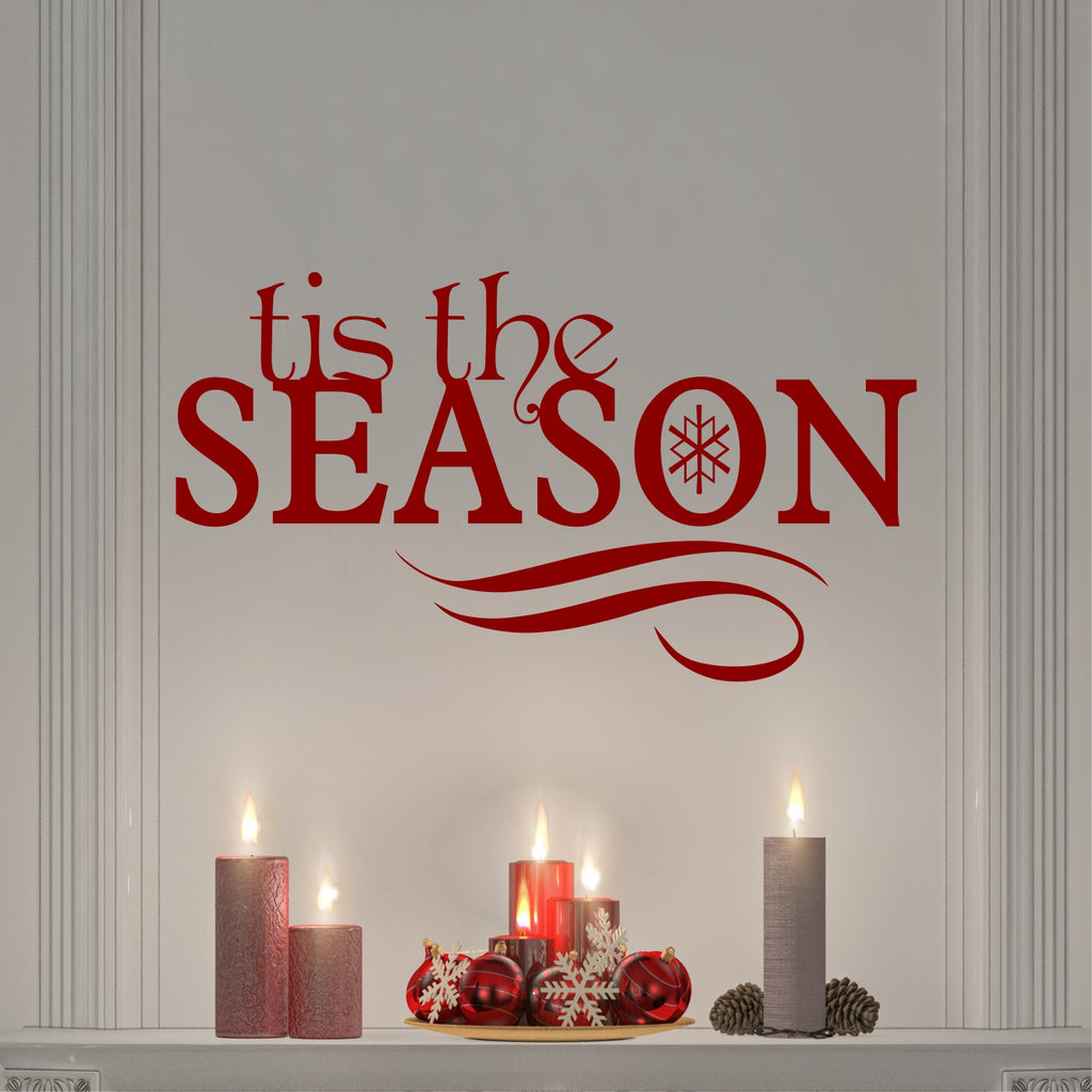 Tis the Season | Holiday Vinyl Decal | Christmas Wall Lettering