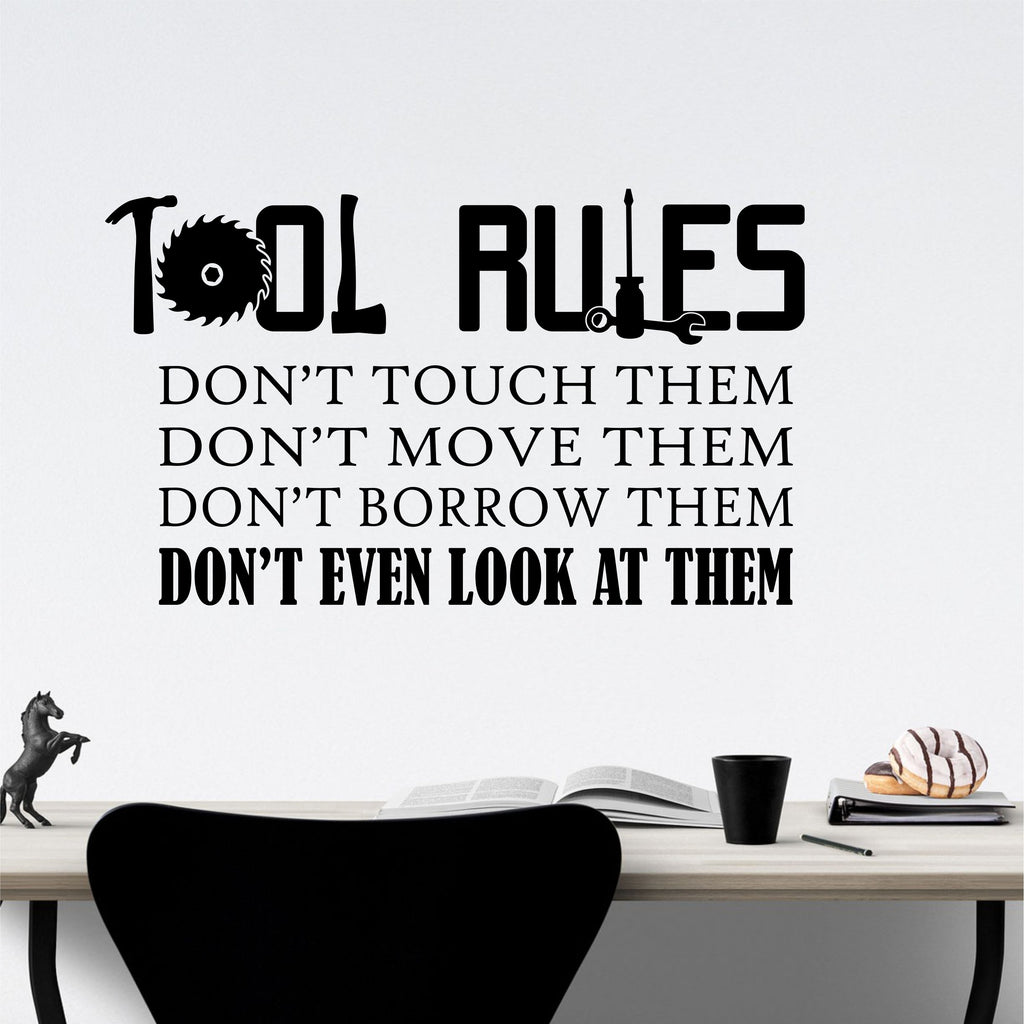 Tool Rules Man Cave | Garage Vinyl Decals | Vinyl Wall Lettering