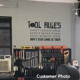 Garage Wall Decal Tool Rules Humorous Man Cave Vinyl Lettering