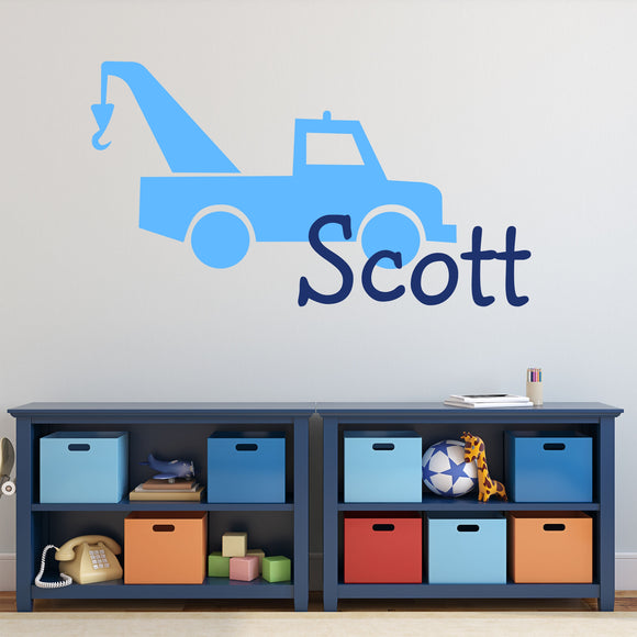 Wall Decal Boy Name Tow Truck Silhouette