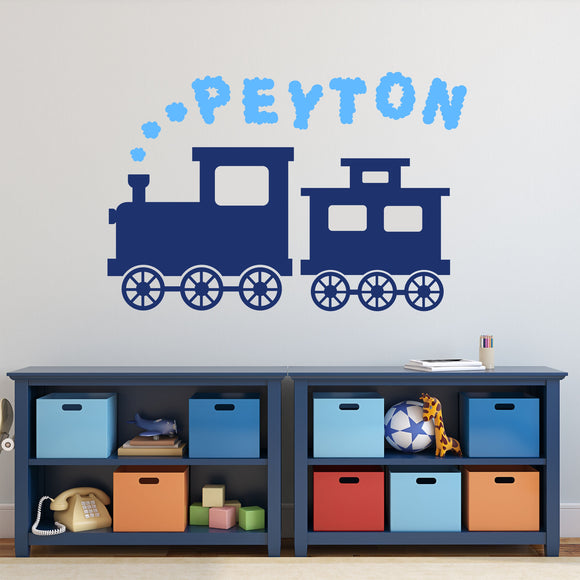 Wall Decal Boy Train Smoke Cloud Name
