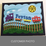 Custom Hand Painted Canvas Boy Name Train Theme Art