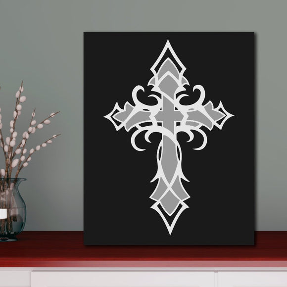hand painted tribal cross canvas