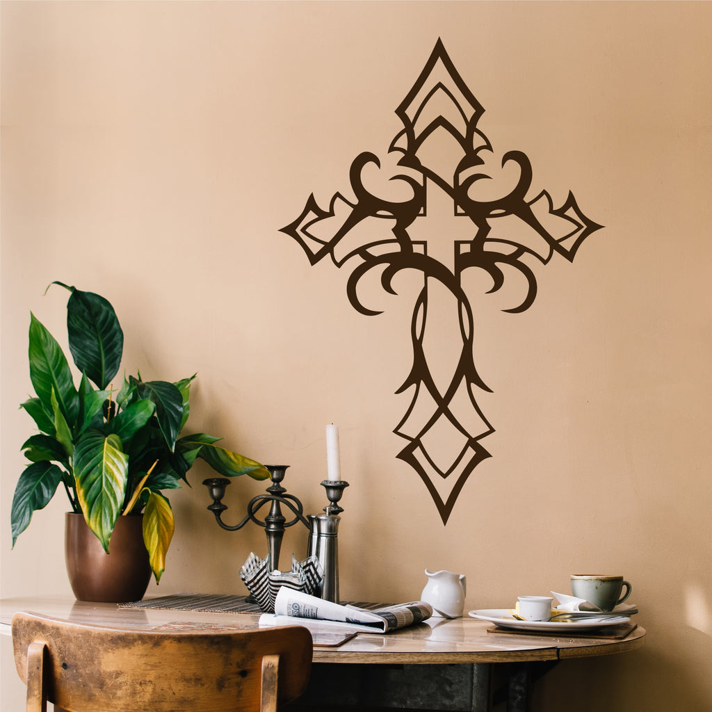 & Tribal Cross Wall Decal | Religious Decals | Christian Vinyl Art