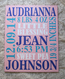 Custom Painted Canvas Baby Girl Birth Announcement Nursery Art