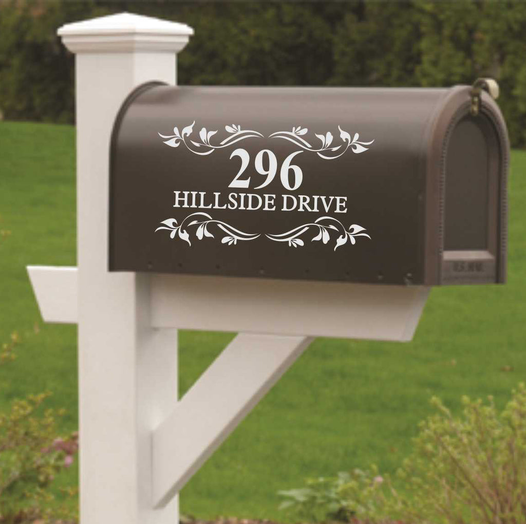 Custom Mail Box Door Decal | Vines and Leaves | Vinyl Lettering