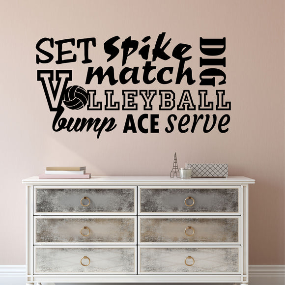 Wall Decal Volleyball Word Collage
