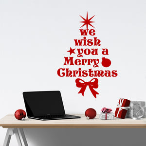 Wall Decal We Wish You Merry Christmas Tree