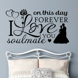 Romantic Bedroom Wall Decal Wedding Collage Decorative Vinyl Lettering