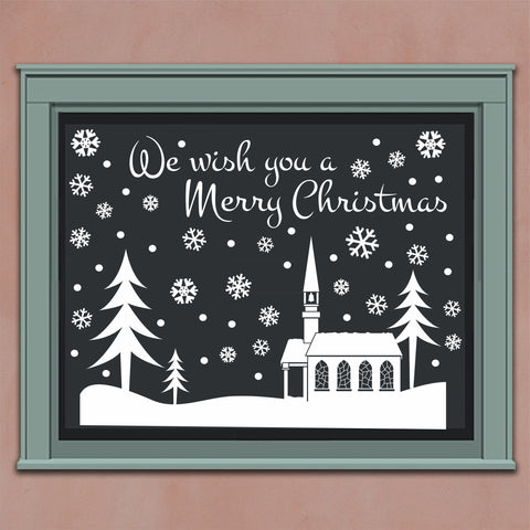 Christmas Snowy Snow Scene | Vinyl Decal | Window Kit