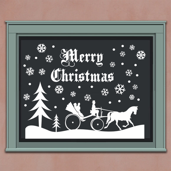 Wall Decal Christmas Snowy Snow Scene Buggy