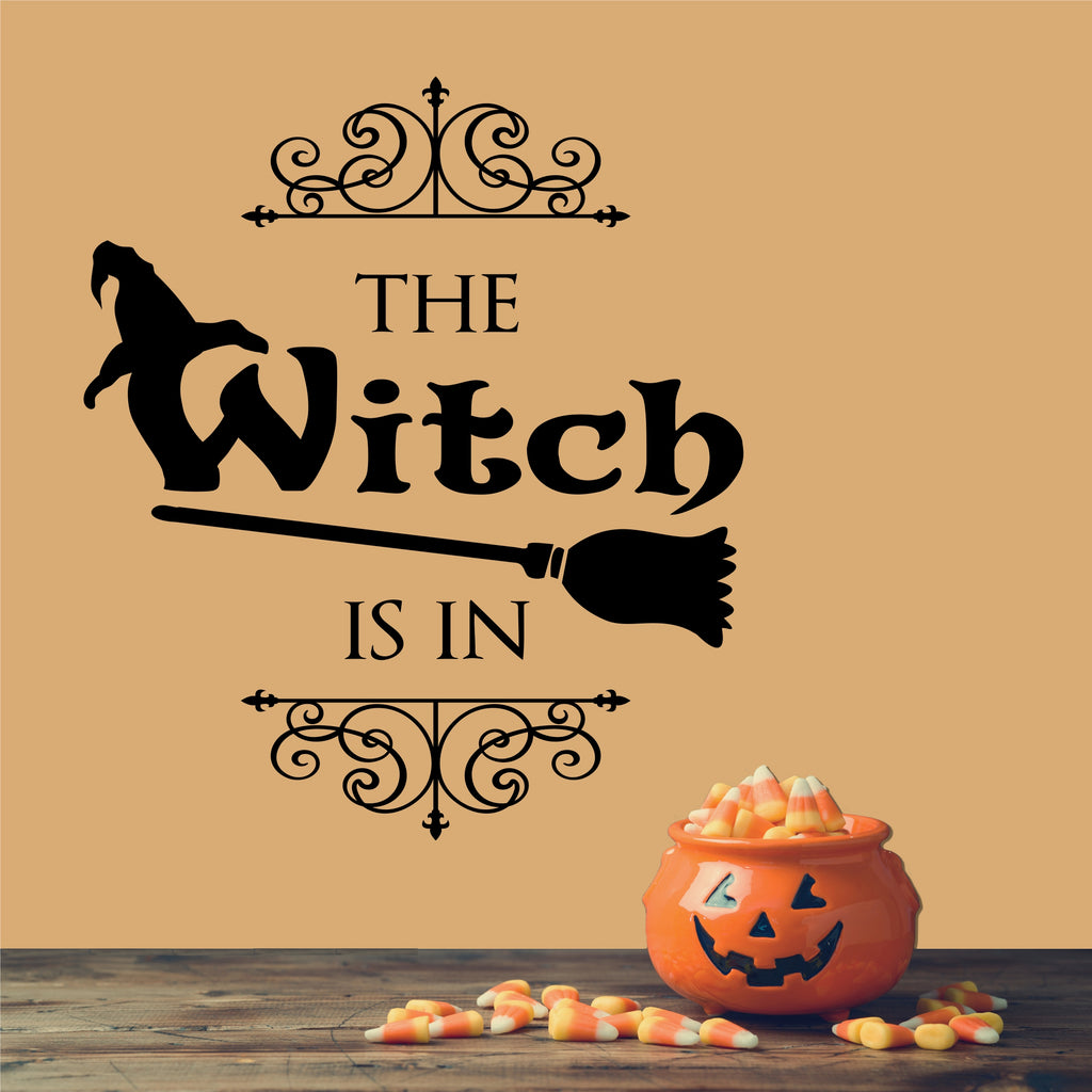 The Witch Is In | Halloween Vinyl Decals | Vinyl Wall Lettering
