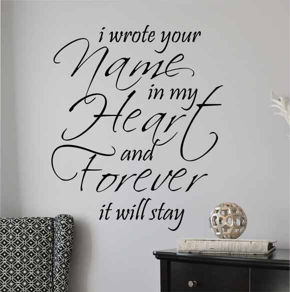 Wall Decal Wrote Name in Heart