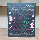 Merry Christmas Recipe | Hand Painted Canvas | Holiday Decoration