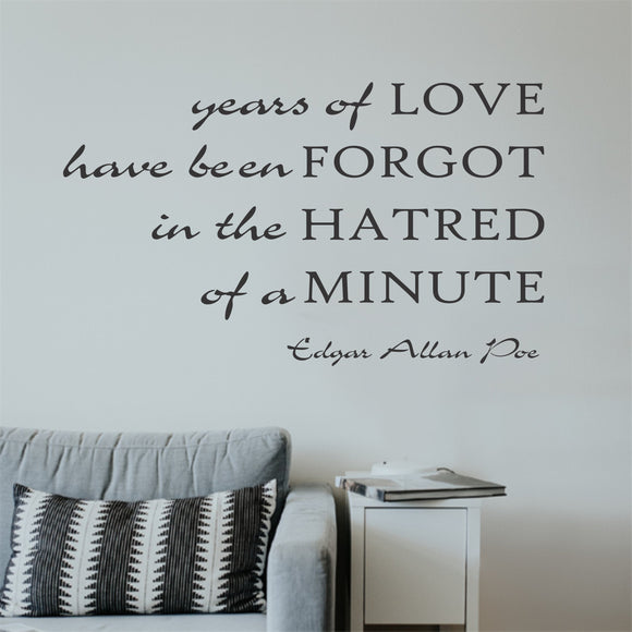 years of love poe quote decal