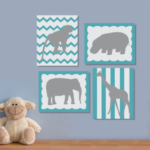 nursery zoo silhouettes canvas paintings
