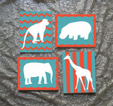 Zoo Animal Silhouettes painted canvas