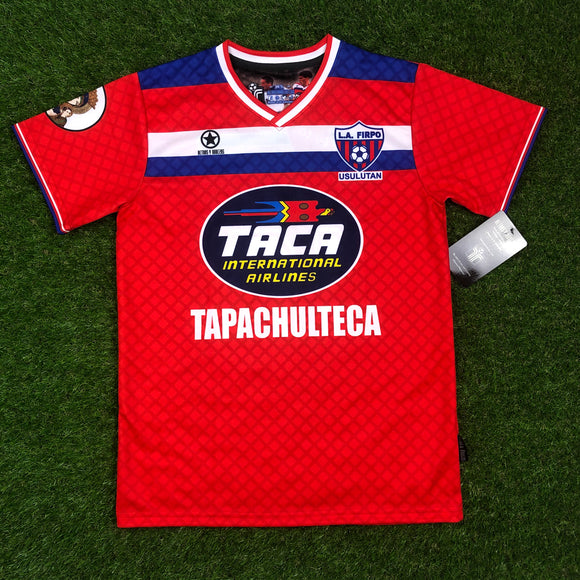 LA FIRPO Mens Retro Soccer Jersey, Diaz Arce #10, RED Short Sleeve, Taca 1992