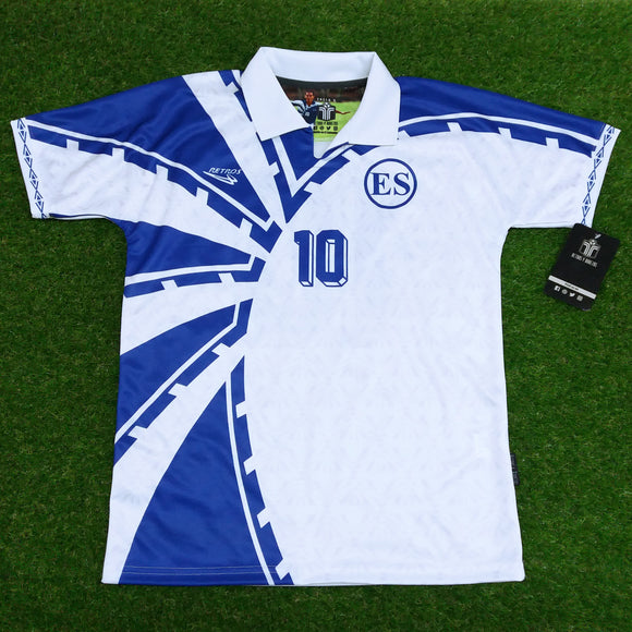 El Salvador, Men's Retro Soccer Jersey, WHITE 1997, #10