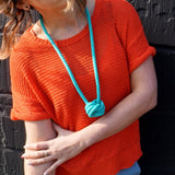 The Rosetta knotted Pendant - Aqua