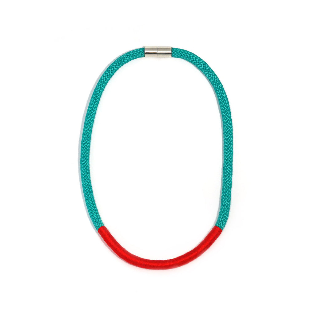 The Etta rope necklace (short) - Aqua