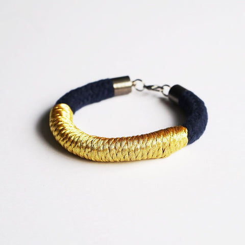Lauryn rope bracelet - Navy and Gold