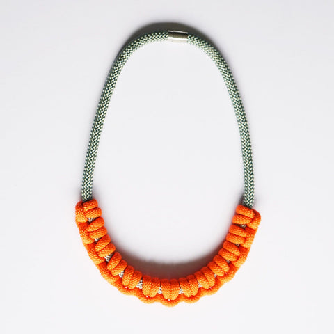 Iris necklace - Grey and Orange