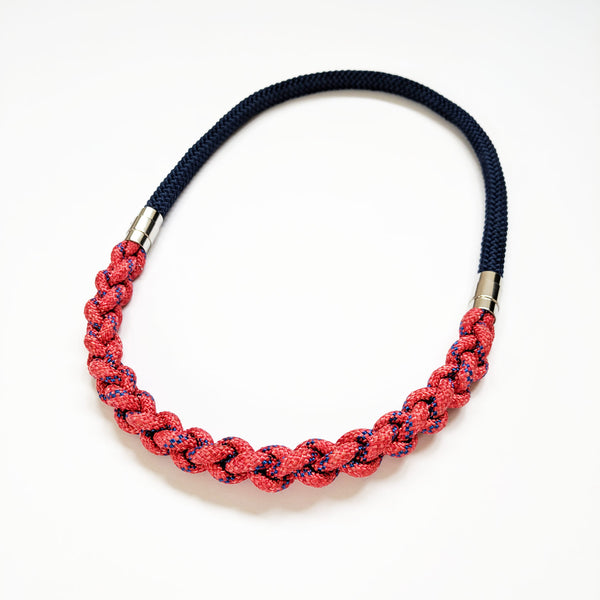 Gwen plaited necklace - Red & Navy