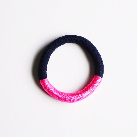 Maya natural and neon bracelet - Navy and  Pink / Yellow