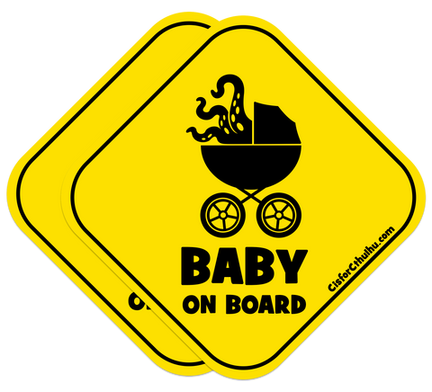 C is for Cthulhu Baby on Board Stickers