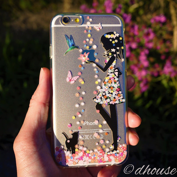 iphone 6 cases for girls made in japan soft clear flower cat for iphone 17531