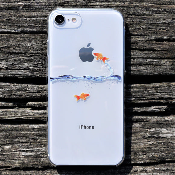 MADE IN JAPAN Hard Shell Clear Case for iPhone 8/8 Plus - Goldfish