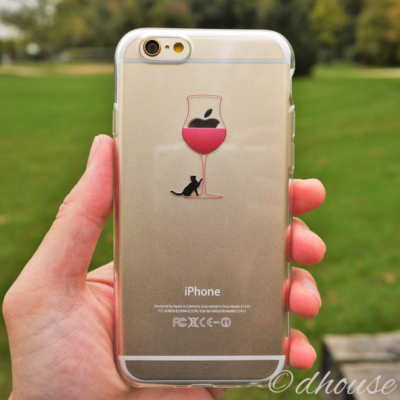 Cute Soft Clear iPhone Case - Wine Glass Cat Made in Japan by DHOUSE