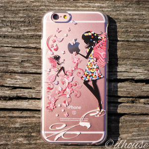 MADE IN JAPAN Soft Clear iPhone 6/6s Case - Fairy Angel Flowers - Dhouse USA - 1