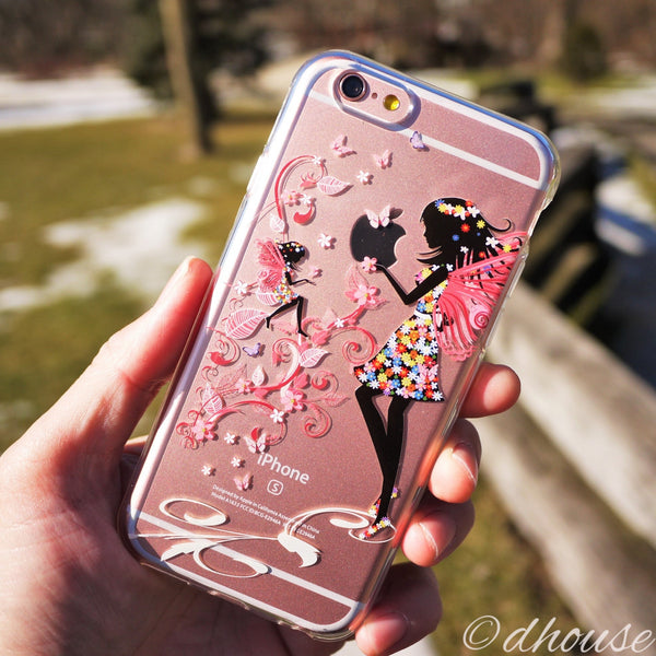 MADE IN JAPAN Soft Clear iPhone 6/6s Case - Fairy Angel Flowers - Dhouse USA - 4