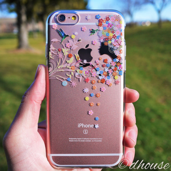Cute Soft Clear iPhone Case - Flower Fairy Bird - Made in Japan by DHOUSE