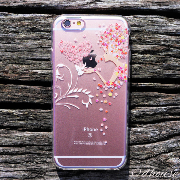 MADE IN JAPAN Soft Clear iPhone 6/6s Case - Flowers Girl Heart Butterfly - Dhouse USA - 1