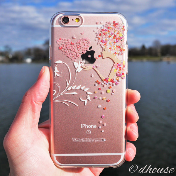 MADE IN JAPAN Soft Clear iPhone 6/6s Case - Flowers Girl Heart Butterfly - Dhouse USA - 3